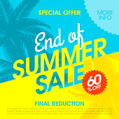 End Of Summer Sale banner. Vector illustration with transparent effect, eps10.