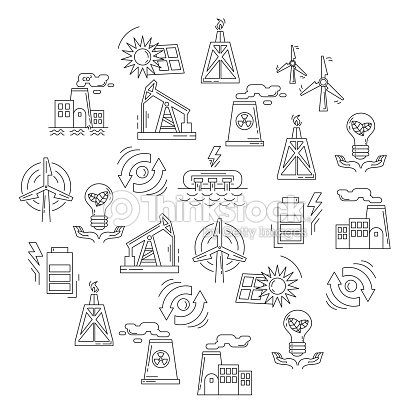 Energy Ecology And Pollution Vector Set Of Icons stock