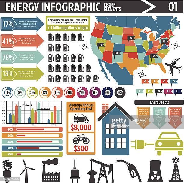 Energía infografía elementos de diseño
