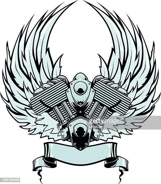 Engaine con alas y banner
