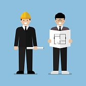 Engineer and architect flat cartoon. Industrial Workers Project Manager