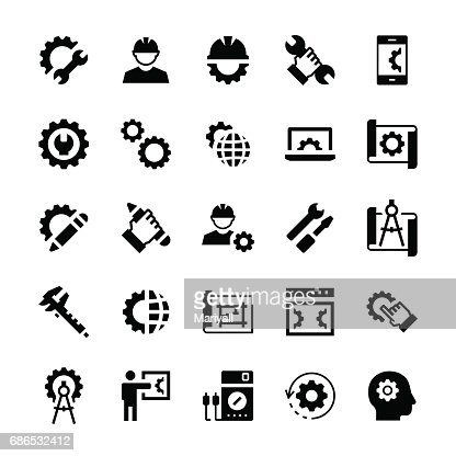 Engineering and manufacturing icon set in flat style. Vector symbols. : Vector Art
