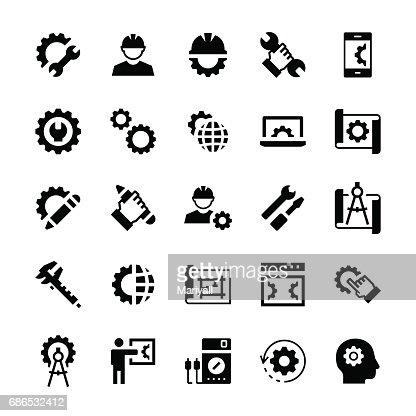 Ingeniería y fabricación icono en estilo plano. Símbolos vectoriales. : Arte vectorial