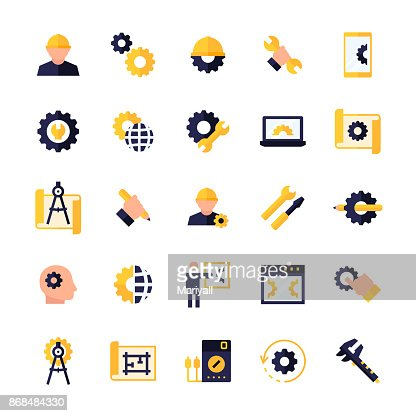 Engineering and manufacturing icon set in flat style. Vector symbols. : stock vector