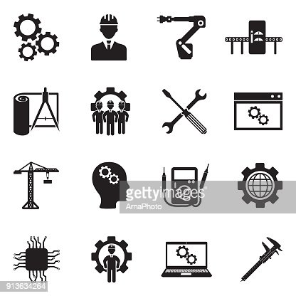 Engineering And Manufacturing Icons. Black Flat Design. Vector Illustration. : stock vector