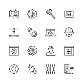 Engineering and manufacturing vector icon set in thin line style