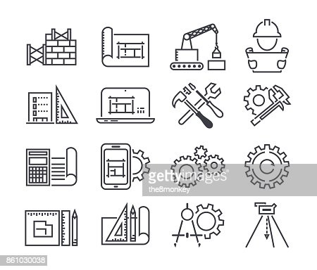 Engineering and manufacturing vector icon set in thin line style : stock vector