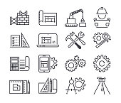 Engineering and manufacturing vector icon set in thin line style.
