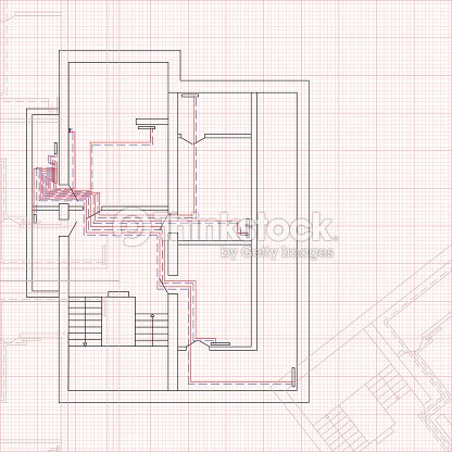 Engineering draft of heating system the house concept of engineering draft of heating system the house concept of construction blueprint vector art malvernweather Images