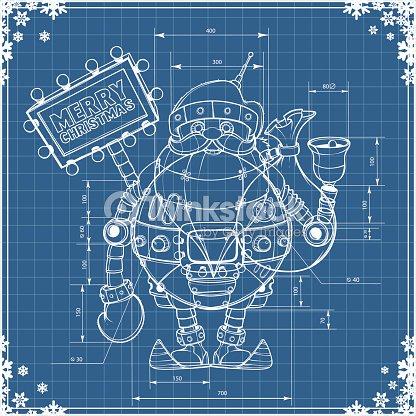 Engineering drawing robot santa on blue paper vector art thinkstock engineering drawing robot santa on blue paper vector art malvernweather Choice Image