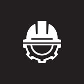 Engineering Icon. Gear and Hard Hat. Development Symbol. Flat Line Pictogram. Isolated on white background.