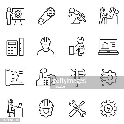 Engineering icons set. Engineer. Line with editable stroke : stock vector