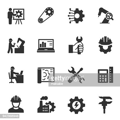 Engineering. Monochrome icons set. : Vector Art