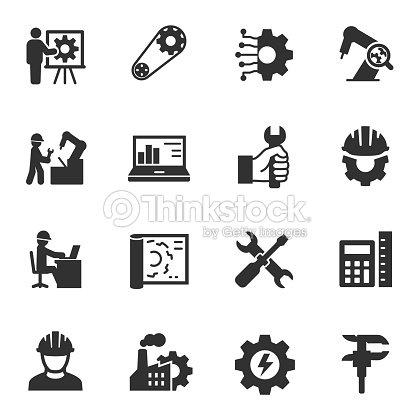 De l'ingénierie. Ensemble d'icônes monochromes. : clipart vectoriel