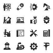 Engineering. Monochrome icons set. Engineer, simple symbols collection