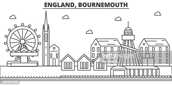 England, Bournemouth architecture line skyline illustration. Linear vector cityscape with famous landmarks, city sights, design icons. Landscape wtih editable strokes : Vector Art
