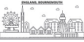 England, Bournemouth architecture line skyline illustration. Linear vector cityscape with famous landmarks, city sights, design icons. Editable strokes