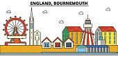 England, Bournemouth. City skyline: architecture, buildings, streets, silhouette, landscape, panorama, landmarks. Editable strokes. Flat design line vector illustration concept. Isolated icons