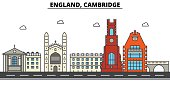 England, Cambridge. City skyline: architecture, buildings, streets, silhouette, landscape, panorama, landmarks. Editable strokes. Flat design line vector illustration concept. Isolated icons