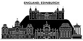 England, Edinburgh architecture vector city skyline, black cityscape with landmarks, isolated sights on background