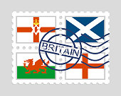 English northern ireland scottish and welsh flags on postage stamps