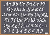 English alphabet letter Latin on chalk Blackboard. Illustration in vector format