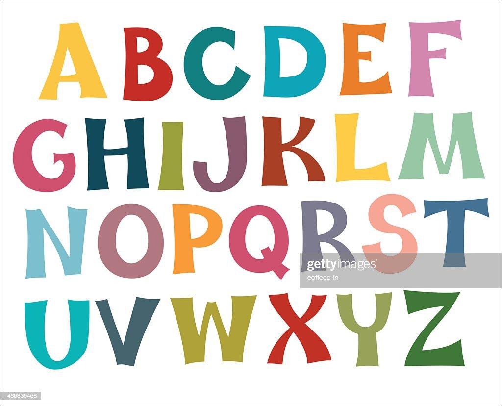 English alphabet multi colors