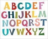 The English alphabet multi colors. Draw.