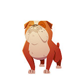 English Bulldog Dog Character. A dog in the style of flat. illustration for children's T-shirts.