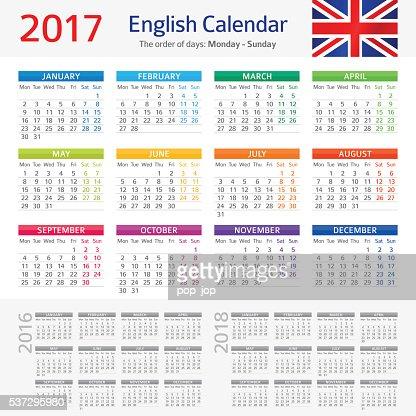 English Calendar 2017 : Vector