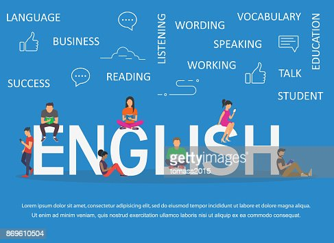 English word for education with icons flat design : stock vector