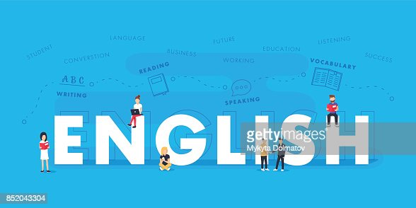 English word for education with icons flat design. Vector polyglot typographical wordcloud with mutiple words : Vector Art