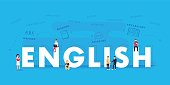 English word for education with icons flat design. Vector polyglot typographical wordcloud with mutiple words pertaining to language, study, dialogue and translation, in different sized fonts and diff