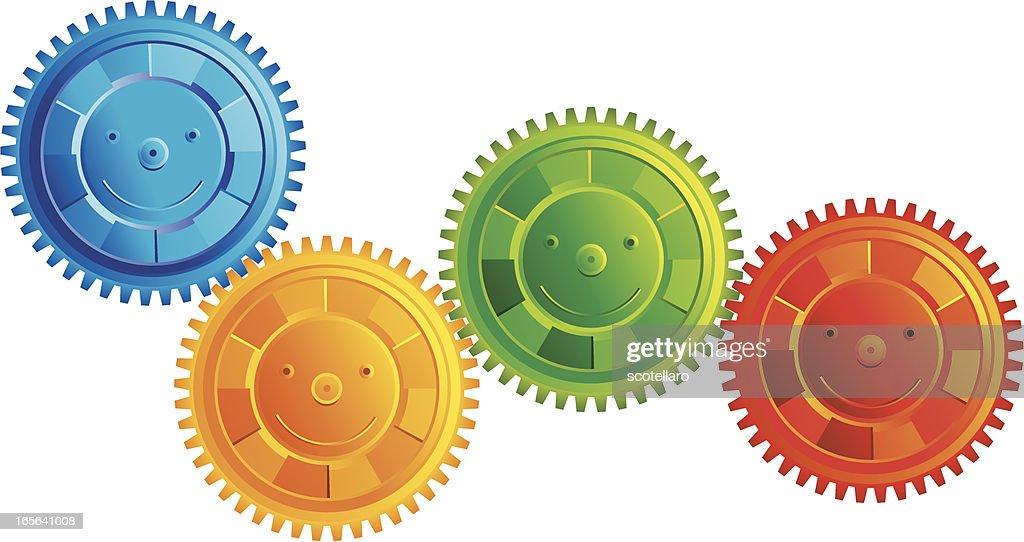 Engranajes Felices Vector Art