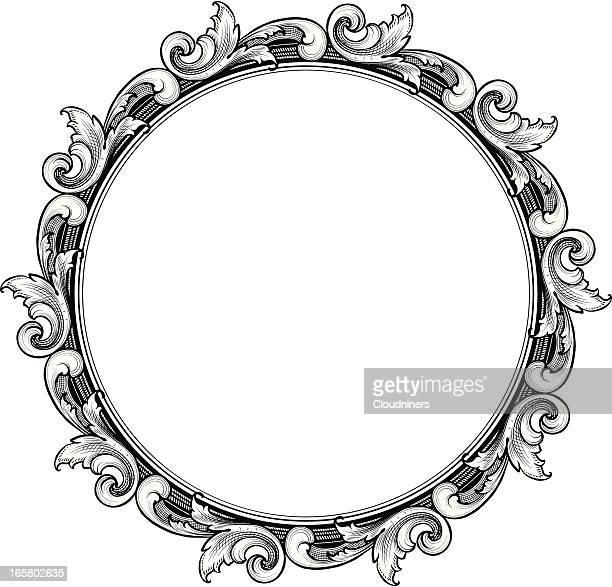 engraved Circle Scroll Frame
