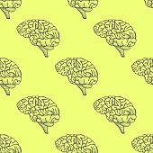 Engraving brain illustration, Hand Drawn Anatomical seamless pattern. Vector illustration