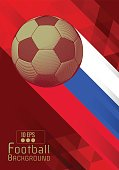 Engraving soccer ball and shadow space illustration with triangular and red color stripe in Russia theme background