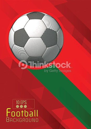 fe14203da6e4c4 Engraving Football Graphic Layout With Color Stripe On Red Bg Vector ...