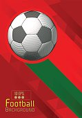 Engraving soccer ball and shadow space illustration with triangular and red color stripe in Protugal theme background
