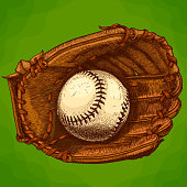 Vector antique engraving illustration of baseball glove and ball in retro style