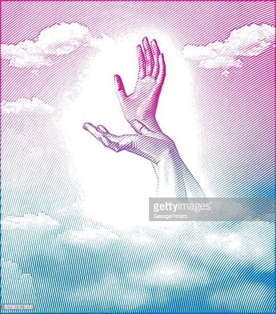 Gravure van illustratie van handen naar de hemel te bereiken