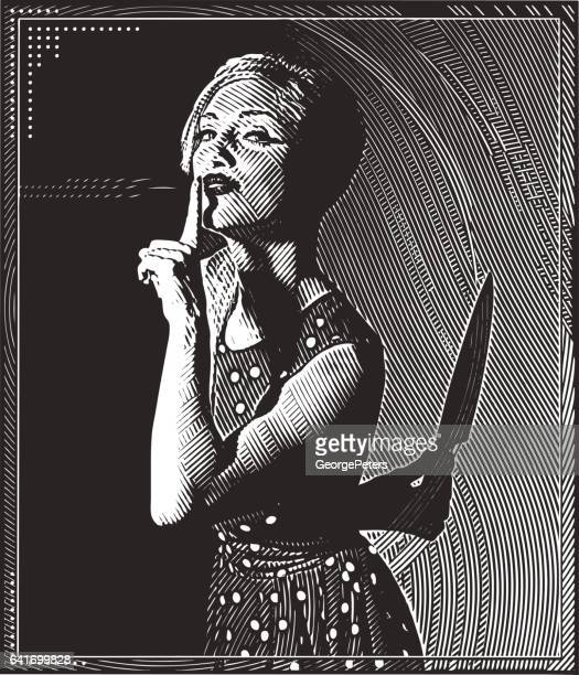 Engraving illustration of young woman with knife and murder secret