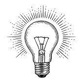 Glowing light bulb. Engraving illustration on white background
