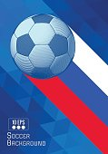 Engraving soccer ball and shadow space illustration with blue triangular and color stripe BG