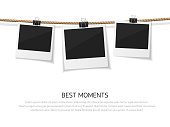 Enjoy every moment. Vector polaroid photo hanged on rope. Retro photos on a thread. Instant photo frame collection