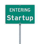 Vector illustration of the Entering Startup (Washington State) green road sign
