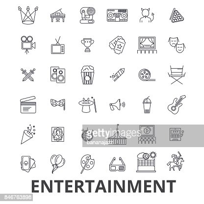 Entertainment, musician, movie, party, media, shopping, sports, fun, theatre line icons. Editable strokes. Flat design vector illustration symbol concept. Linear signs isolated : Arte vettoriale