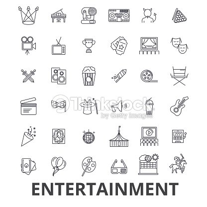 Entertainment, musician, movie, party, media, shopping, sports, fun, theatre line icons. Editable strokes. Flat design vector illustration symbol concept. Linear signs isolated : stock vector