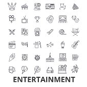 Entertainment, musician, movie, party, media, shopping, sports, fun, theatre line icons. Editable strokes. Flat design vector illustration symbol concept. Linear signs isolated on white background
