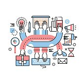 Entrepreneurs teamwork and multitasking hard work at research, sales, marketing, accounting, all at once. Modern thin line icons art work collage. Linear illustration isolated on white background.